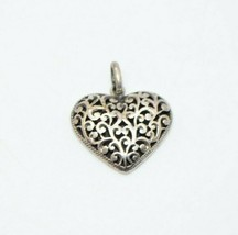 BOMA Signed Sterling Silver .925 Filigree Heart Necklace Pendant - $24.74