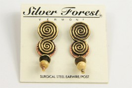 ESTATE VINTAGE Jewelry NOS ON CARD SILVER FOREST VT TRIBAL COIL PIERCED ... - $10.00