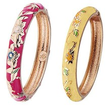 UJOY Vintage Cloisonne Bracelets Gold Plated Metal Cuff Bangles Indian E... - $20.40
