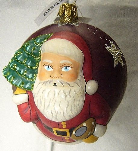 Vaillancourt Folk Art  burgundy American Starlight Santa Ornament