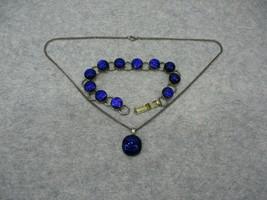 Vintage Cobalt Blue Cabochon Foil Bracelet Necklace Set Silver Tone - $29.99