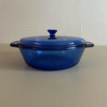 2 QT Anchor Hocking Blue Casserole Dish w/ lid Vintage Cobalt Blue cookware - $48.51