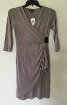 Spense Petite 3/4 Sleeve Draped Casual Dress 74864P New Taupe PS - $17.10