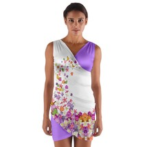 tunic top wrap flowers butterflies butterfly pink violet sleeveless hot sexy  - $36.00 - $42.00