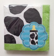 BABY BOY Cow Print Party Luncheon NAPKINS - 16 Pack - Baby Shower Dinner... - $7.83
