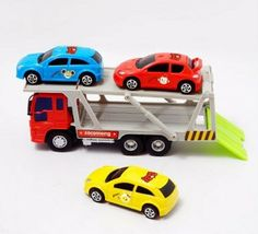 Zeus Toys Mini Carrier Trailer Truck Car Push and Go Friction Powered Toy image 4