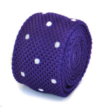 Skinny cadbury puple and white polka spot knitted tie by Frederick Thomas FT1850