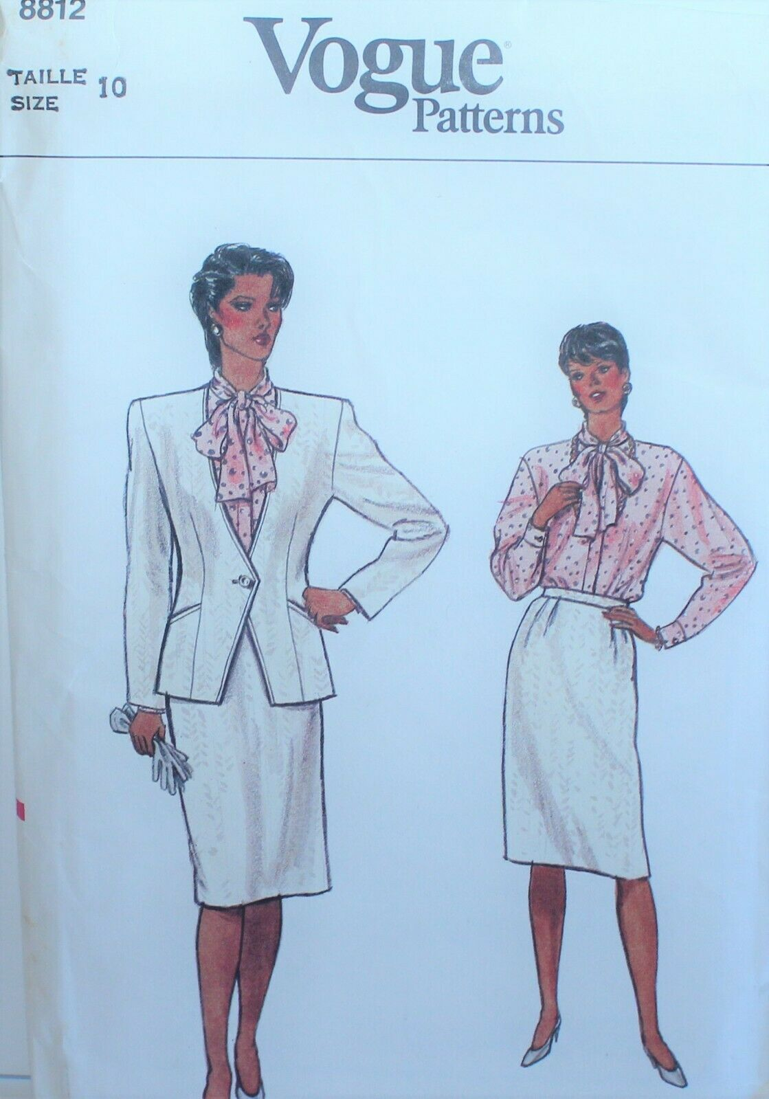 Primary image for Vogue 8812 Sewing Pattern Jacket Skirt Blouse Size 10 Vintage