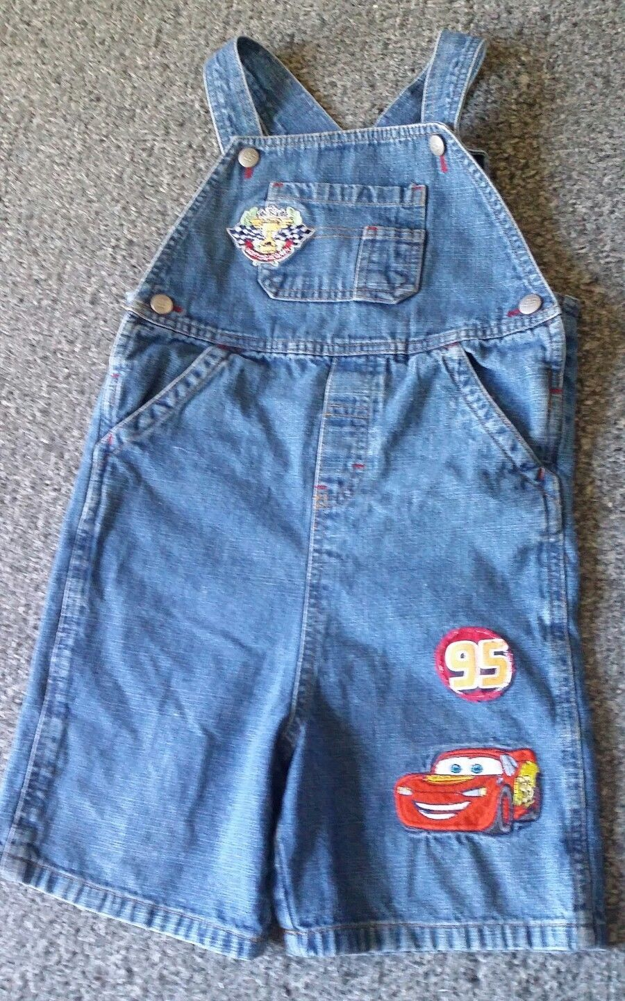 VTG Disney Pixar Cars 95 Lightening McQueen Denim Bibs Shorts 5T Overalls HTF
