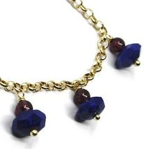 18K YELLOW GOLD BRACELET, OVAL FACETED LAPIS LAZULI PENDANT, ROLO LINKS 2.5mm image 3