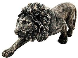 The King of The Jungle Bronzed Aslan Lion Figurine Battle Attacking Stan... - $25.69
