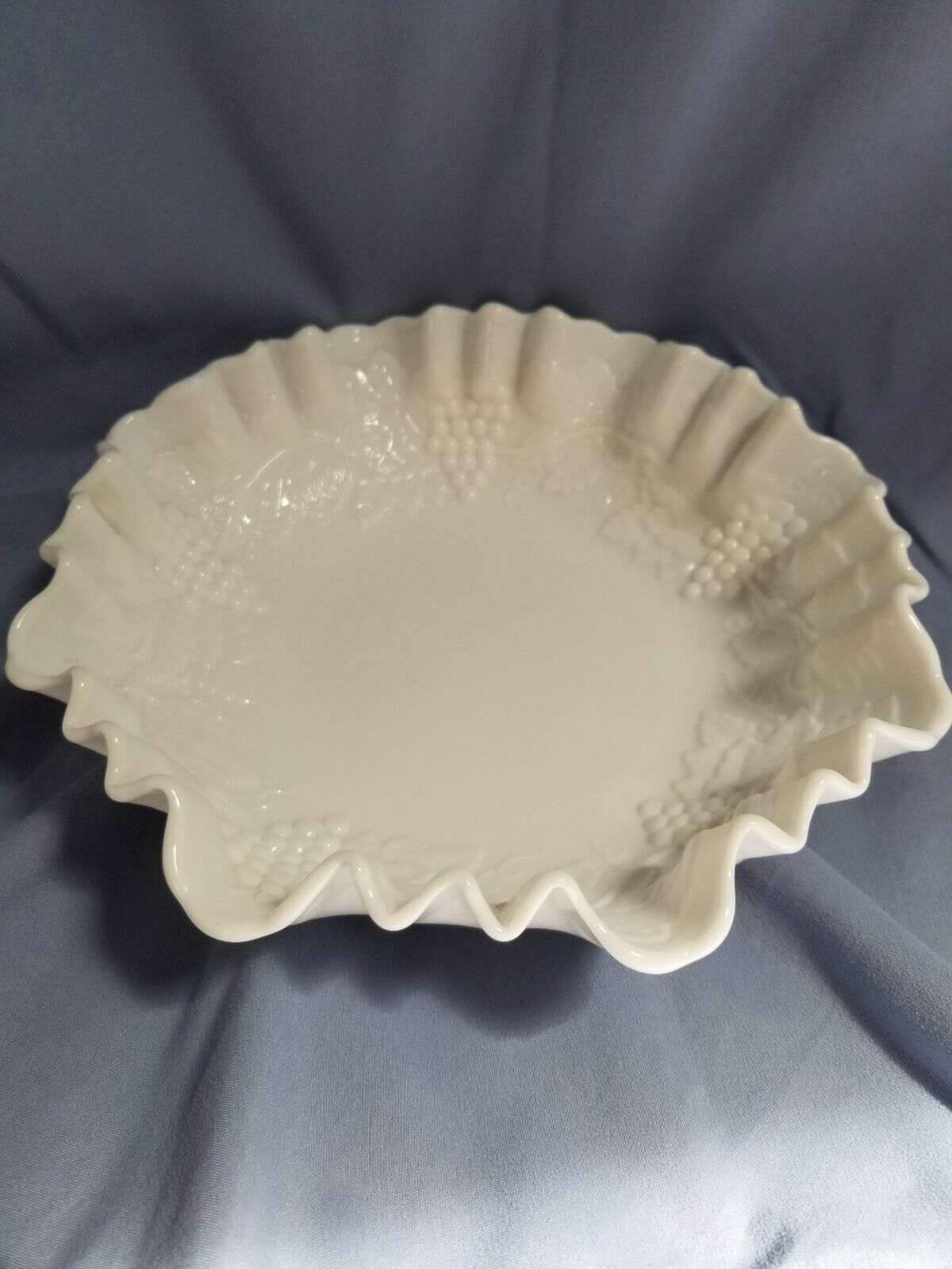 Primary image for Imperial Grape 8 1/2 inch Milk Glass Crimped Bowl - Imperial Glass Co.