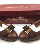 Salvatore Ferragamo Womens Sz 6C Vara 3 CM Heel Cognac Pebble Calf Leath... - $414.79