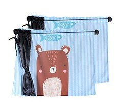 PANDA SUPERSTORE Set of 2 Lovely Car Curtains Sunshades Sucker Type Double Sunsh