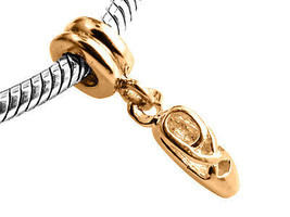 9ct Yellow GOLD Handmade Ballet Shoes Dangle Charm Fits EUROPEAN BRACELETS - $78.54