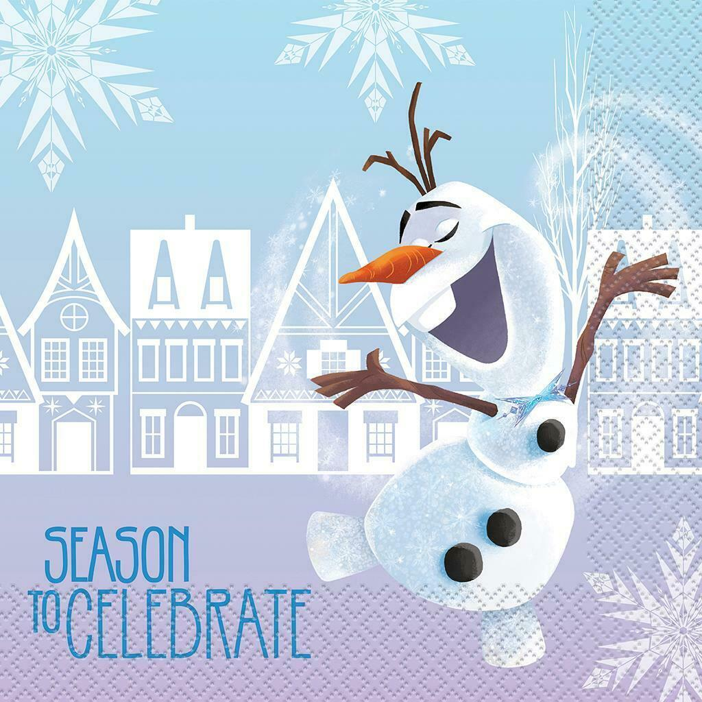 Disney Frozen Olaf Lunch Napkins Christmas Holiday Party Supplies 18 Ct