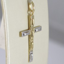 Cross Pendant Yellow Gold White 750 18K, Rectangle, Satin, Made in Italy image 2