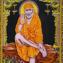 3Y18 Cotton Tapestry Sai Baba Wall Hanging Poster Size Black Throw Décort - £2.86 GBP