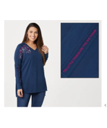 Life is Good Freestyle Wash Tunic Tee Dark Blue/Things, Large, A369534 - $23.13