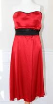 RUBY ROX Size 3 Red Satin Strapless Dress with Black Satin Sash Dressy F... - $14.84