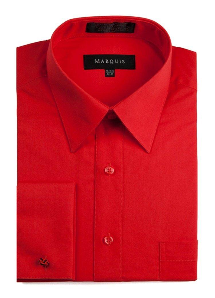 Marquis men 39 s red regular fit french cuff dress shirt for Dress shirt for cufflinks