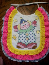 "Bib Hand Cross Stitched - Decorated & Backed ""CLOWNING AROUND"" matches q... - $19.99"