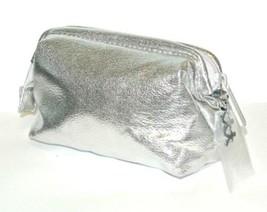 bareMinerals makeup bag Metallic Silver with mini mirror Zip Cosmetic Makeup Pou - $9.85