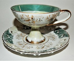 Lefton China Tea Cup & Saucer Aqua Blue White Gold Trim Pierced Rim Japan NE1424 - $35.64