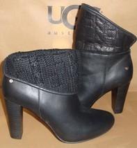 UGG Australia Dandylion Tres Black Leather Knit Ankle Boots Size 6 NIB #1008755 - $113.80