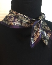 Vintage Adrienne Vittadini square silk scarf (Navy floral and paisley)
