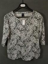 Gap Maternity Knit Henley Shirt Top Small Gray White 3/4 Sleeve Split Neck  - $15.48