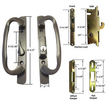 Glass Patio Door Handle Kit Mortise Lock and Keepers, B-Position, Bronze, Keyed - $64.30