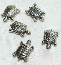 TURTLE BEAD FINE PEWTER BEAD - BRIGHT SILVER FINISH - 14mm L x 15mm W x 10mm D image 1