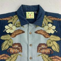Joe Marlin Button Up Hawaiian Shirt Mens Large Blue Floral Short Sleeve ... - $18.49