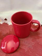 Ceramic Tea or Coffee Mug with Lid - 11oz - Red Omniware image 5