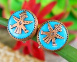 Vintage zuni knifewing diety earrings copper turquoise screwback round thumb155 crop