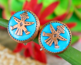 Vintage Zuni Knifewing Diety Earrings Copper Turquoise Screwback Round - $17.95
