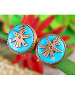 Vintage Zuni Knifewing Diety Earrings Copper Turquoise Screwback Round - €15,84 EUR