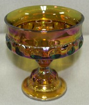 "Vintage Marigold Carnival Glass Thumbprint Kings Crown 5"" Pedestal Candy... - $15.99"