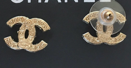 Authentic CHANEL GOLD CC LOGO PEARLS SWAROVSKI CRYSTALS EARRINGS image 3