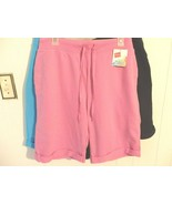 Wome M L 12 14 16 Short Pull On Stretc Waist Solid Pink Purple Activ Tra... - $9.90