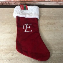 NWT CVS Merry Bright Monogram Letter E Red Christmas Stocking 20-Inch - $9.46