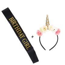 Unicorn Headband and Girl Birthday Sash Set,Gold Glitter Unicorn Horn Wi... - $15.75