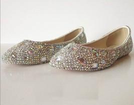 sparkly Wedding Ballet Flats Shoes Glitter Bride Bridesmaid Shoe Swarovski Shiny image 3
