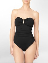 Calvin Klein One Piece Sz 8 Black Silver Ruched Bandeau Swimsuit CG5MS002   - $49.44