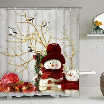 BLEUM CADE Christmas Shower Curtain with 12 Hooks Snowman Red Xmas Ball ... - $41.99