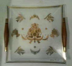 Georges Briard Mid Century Glass Serving Tray Wood Handles Doves - $25.69