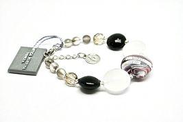 Bracelet Antique Murrina Venezia Lampwork Murano Glass Charm Bead Black & White image 5