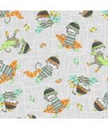 Monkey Business Toss Grey Green Orange 100% cot... - $6.36
