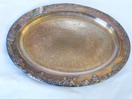 "VTG Newport Gorham Silver Plated  oval 16""x11.5"" Serving grape decor Tray - $59.40"